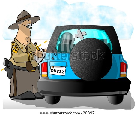 Clipart illustration of a Highway Patrolman giving a citation to a driver.