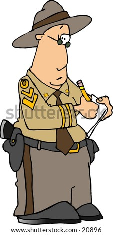 Clipart illustration of a highway patrolman writing on a clipboard.