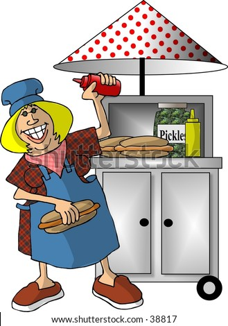 Clipart illustration of a hot dog stand