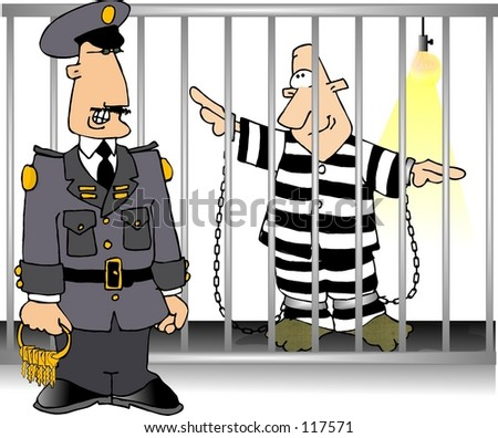 Clipart illustration of a jailer and an inmate