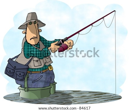Clipart illustration of a man flyfishing