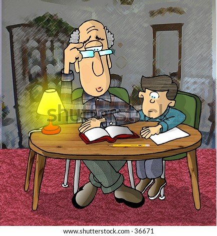 Clipart illustration of a man helping a boy with homework