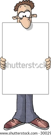Clipart illustration of a man holding a large blank sign