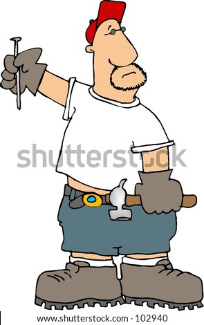 stock photo : Clipart illustration of a man with hammer and nail