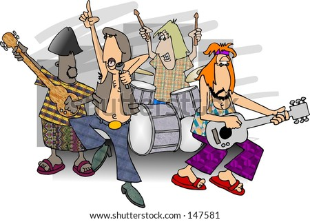 Clipart illustration of a rock band