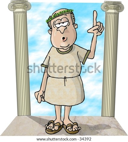 Clipart illustration of a Roman guy between 2 pillars