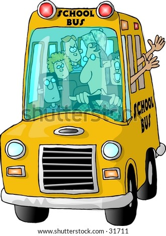 Clipart illustration of a schoolbus full of students