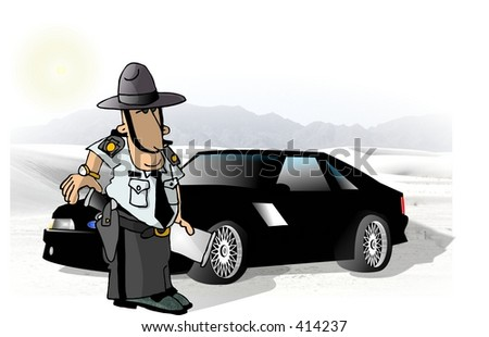 Clipart illustration of a state trooper