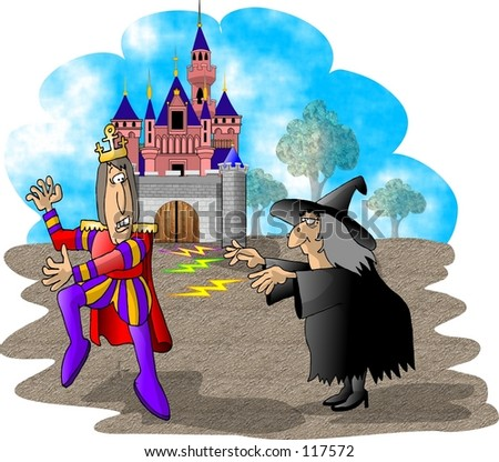 Clipart illustration of a witch putting a spell on a prince