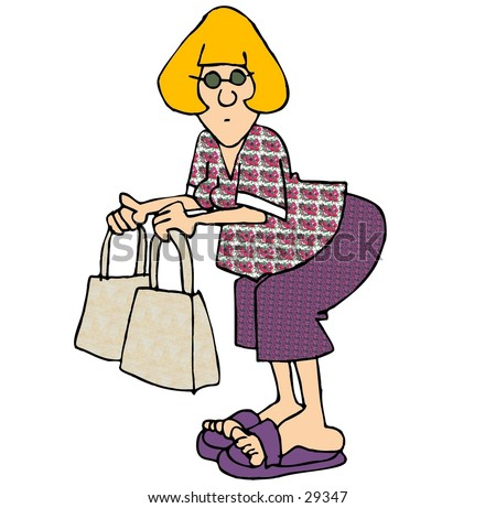 stock photo : Clipart illustration of a woman with two shopping bags.