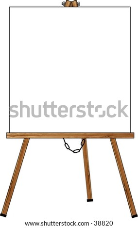 Clipart illustration of an easel with a blank card