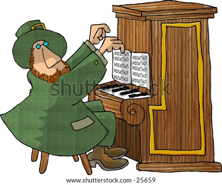 Clipart illustration of an Irish Leprechaun playing a piano.