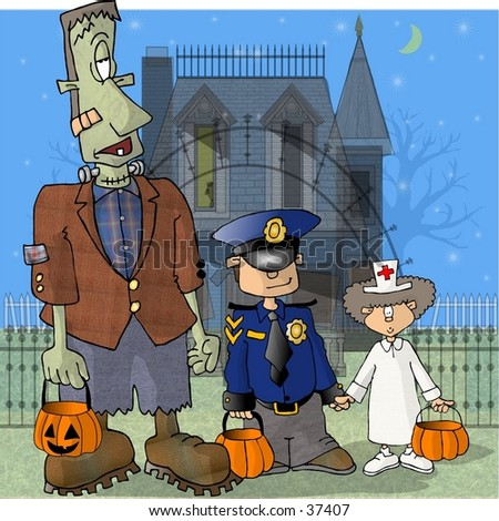 Clipart illustration of Frankenstein and two kids on Halloween