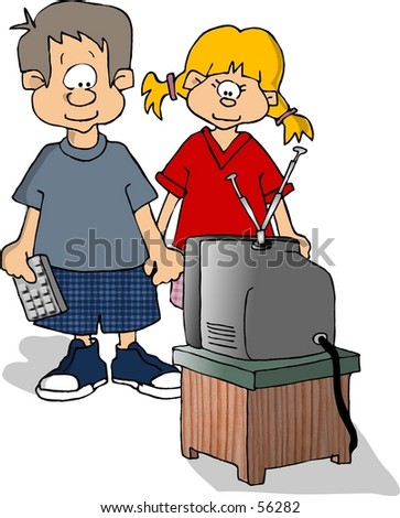 Clipart illustration of 2 kids watching TV