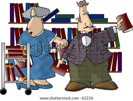 librarians clip art. stock photo : Clipart illustration of two librarians