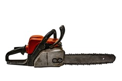 Clipart of old dirty working chainsaw isolated on white background. Gasoline firewood cutting tool - side view