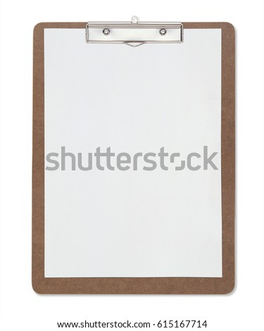 Clipboard and paper isolated on white background with clipping mask.