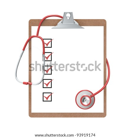 Clipboard and Stethoscope. Clipboard with Check marks and a Stethoscope. Green and steel. Isolated.