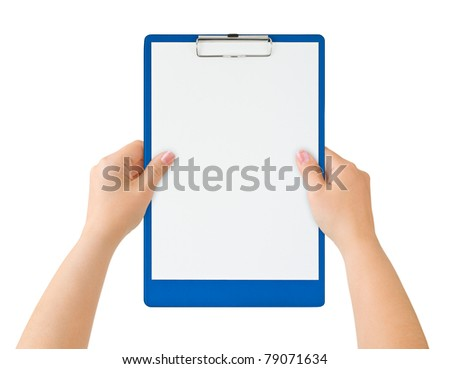 Clipboard in hands isolated on white background
