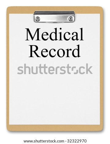 Clipboard showing medical record stock photo