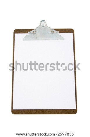 clipboard with a paper isolated on a white background