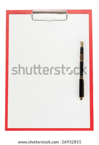Clipboard with blank paper for messages on a white background - stock photo
