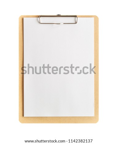 Clipboard with blank paper isolated on white background with clipping path