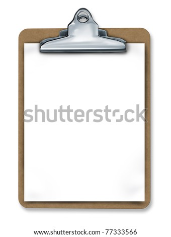 Clipboard with blank paper isolated representing a medical or business chart and taking important notes.