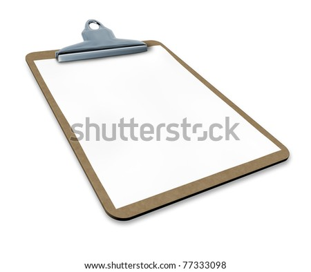 clipboard with blank paper isolated with angled perspective representing a medical or business chart.