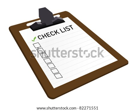 Clipboard With Check List Attached