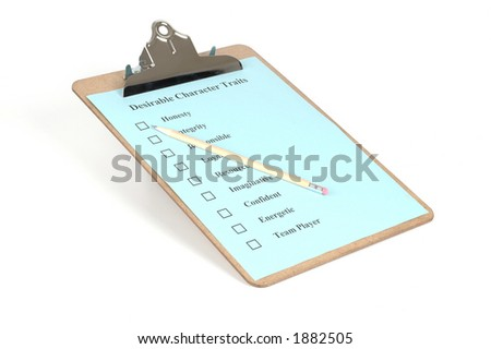 Clipboard with checklist and pencil isolated on a white background