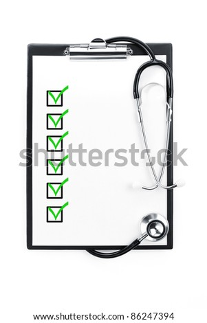 Clipboard with checklist and stethoscope isolated with path included