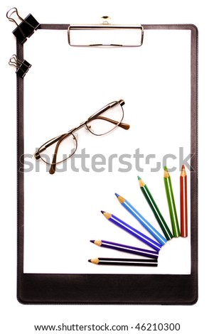 Clipboard with colored pencils (isolated)