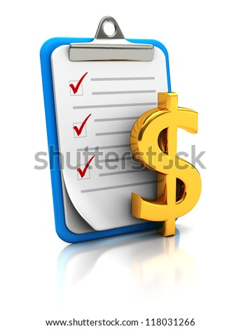 Clipboard with dollar sign  on white background, money concept