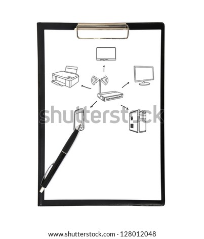 clipboard with drawing wi-fi scheme on white background