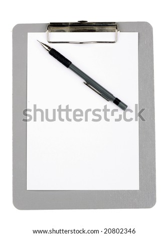 clipboard with pen and blank paper