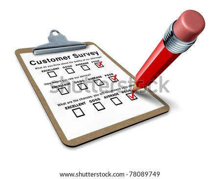 Clipboard with poor customer survey representing a terrible service questionnaire with blank feedback form for quality control. - stock photo