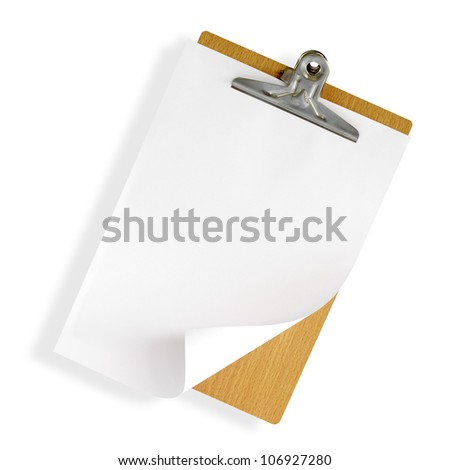 clipboard with white paper on white background