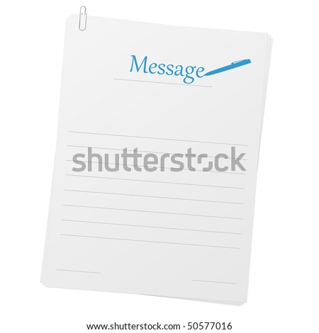 Clipped papers with message layout