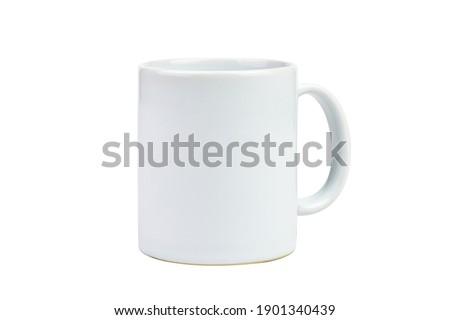 Clipping path. Close up of white mug mockup isolated on white background view. Blank Mug. Blank product. Coffee cup mockup. Mug ceramic blank.