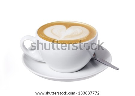 Clipping Path Included. Latte with Heart Design. #133837772
