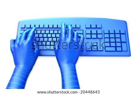 Clipping path is included for the hands. 3D illustration of virtual, wire-frame hands typing on a blue keyboard, isolated in white background.