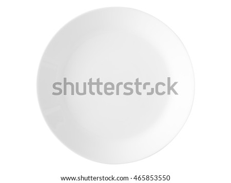 Clipping path of isolated white dish on white background. #465853550