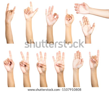 Clipping path of multiple female hand gesture isolated on white background. Isolation of hands count gesturing number or symbol on white background. #1107910808
