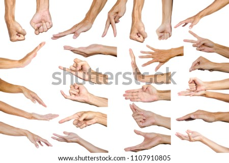 Clipping path of multiple male hand gesture isolated on white background. Isolation of hands gesturing or symbol on white background. #1107910805