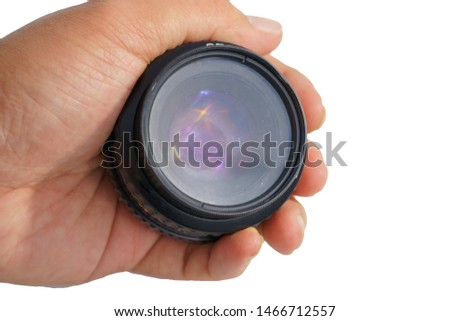 Clipping path old lens photos and classic camera an accident, dirty, fungus, diffuse in hand on white background concept studio. #1466712557