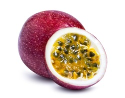 clipping path passion fruit isolated on white background