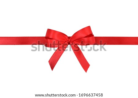 Clipping path. Red ribbon isolated with Red a bow shiny and Straight line on white scene view. Top view(Flay lay).