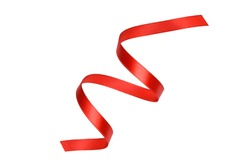 Clipping path. Red ribbon rolled isolated on white scene view. Top view(Flay lay). ribbon decal.
