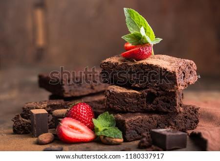 clipping paths homemade dark chocolate brownies and strawberry delicious bitter sweet and fudge.  Christmas